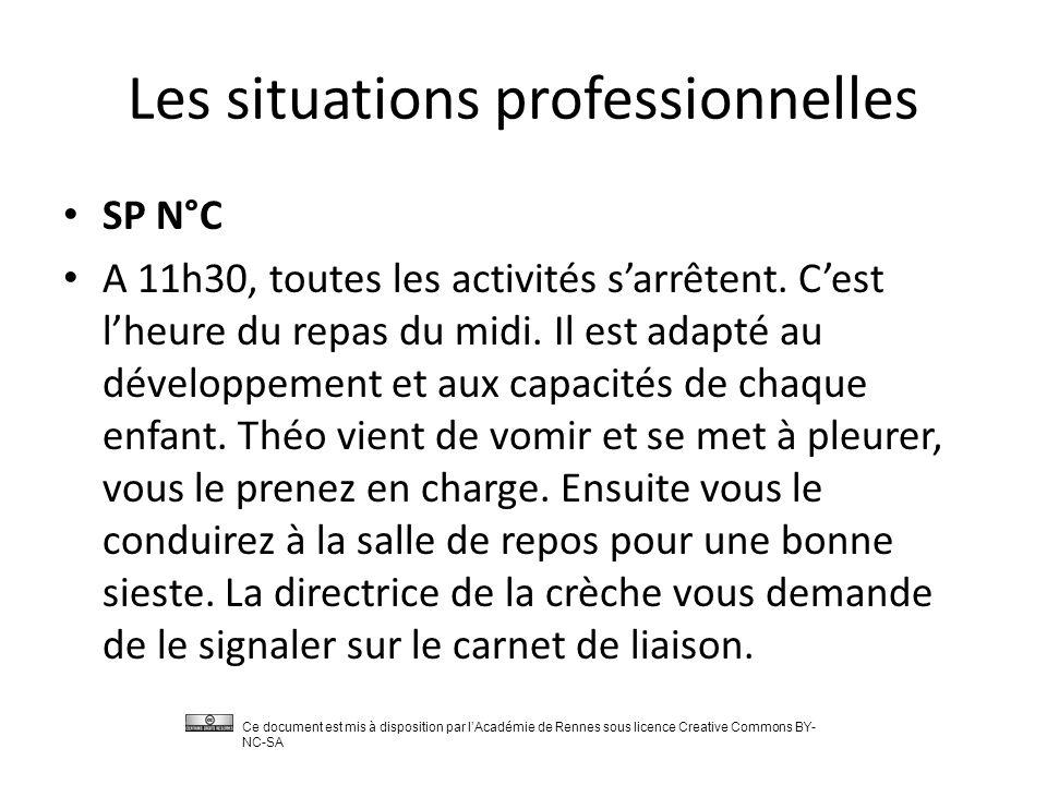 Les situations professionnelles SP N°C A 11h30, toutes les activités s'arrêtent.