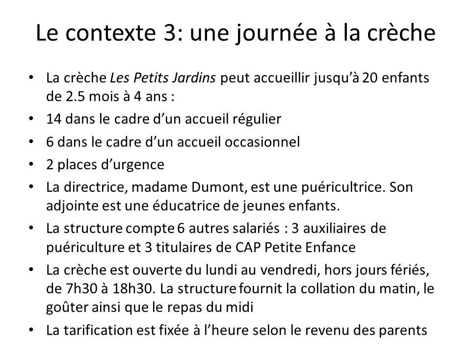 Le contexte 3: une journée à la crèche La crèche Les Petits Jardins peut accueillir jusqu'à 20 enfants de 2.5 mois à 4 ans : 14 dans le cadre d'un accueil régulier 6 dans le cadre d'un accueil occasionnel 2 places d'urgence La directrice, madame Dumont, est une puéricultrice.