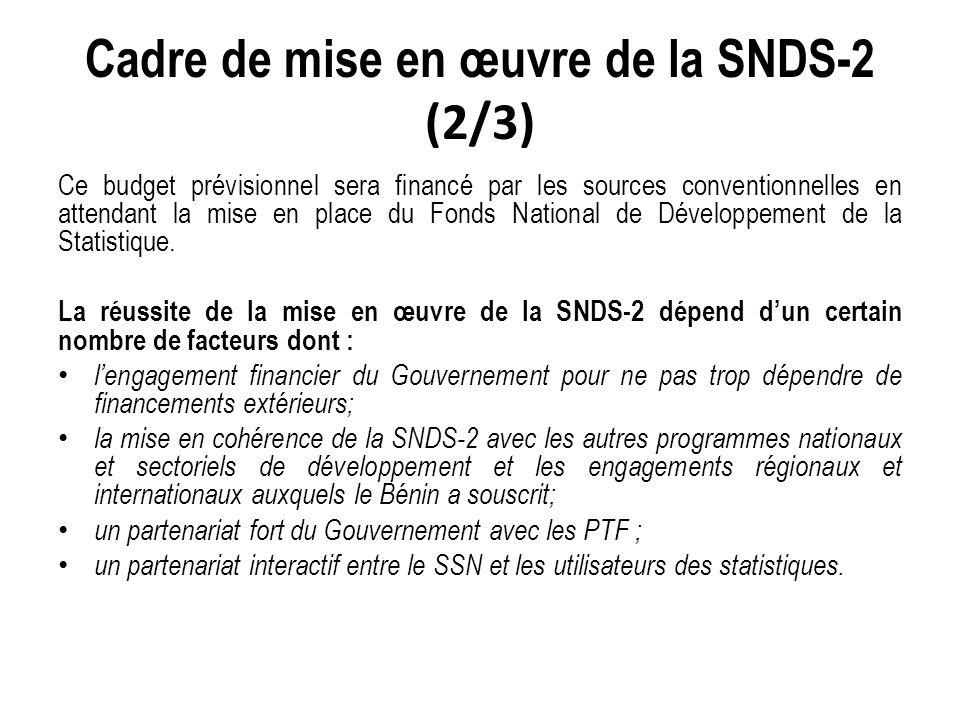 Cadre de mise en œuvre de la SNDS-2 (2/3) Ce budget prévisionnel sera financé par les sources conventionnelles en attendant la mise en place du Fonds National de Développement de la Statistique.