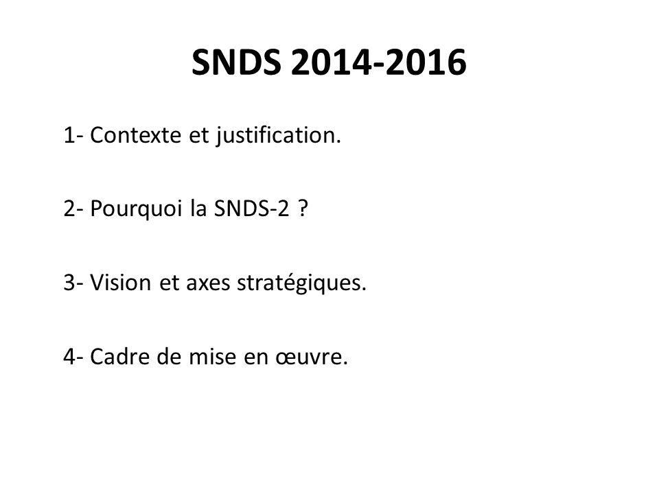 SNDS 2014-2016 1- Contexte et justification. 2- Pourquoi la SNDS-2 .
