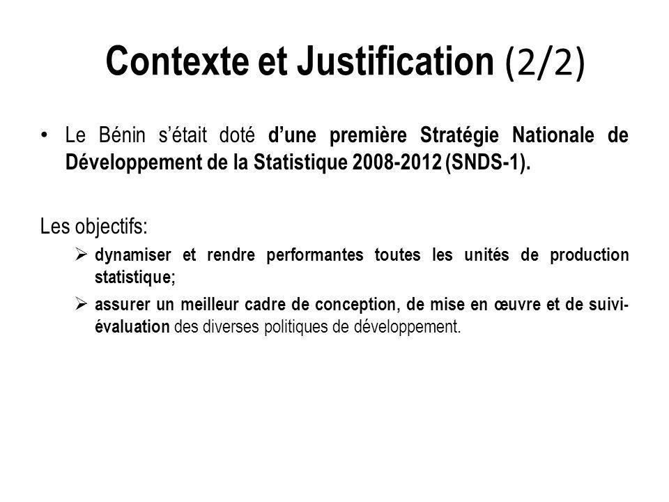 Le Bénin s'était doté d'une première Stratégie Nationale de Développement de la Statistique 2008-2012 (SNDS-1).