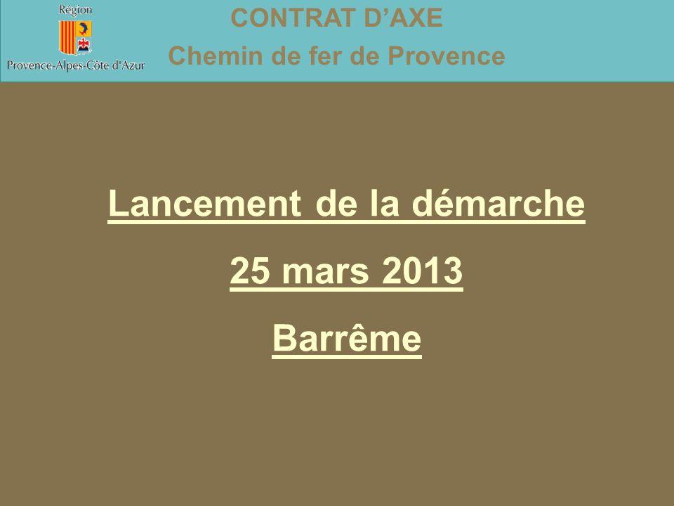 Lancement de la démarche 25 mars 2013 Barrême CONTRAT D'AXE Chemin de fer de Provence