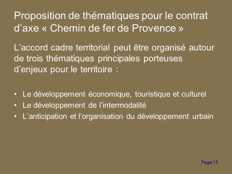 Proposition de thématiques pour le contrat d'axe « Chemin de fer de Provence » L'accord cadre territorial peut être organisé autour de trois thématiques principales porteuses d'enjeux pour le territoire : Le développement économique, touristique et culturel Le développement de l'intermodalité L'anticipation et l'organisation du développement urbain Page 12
