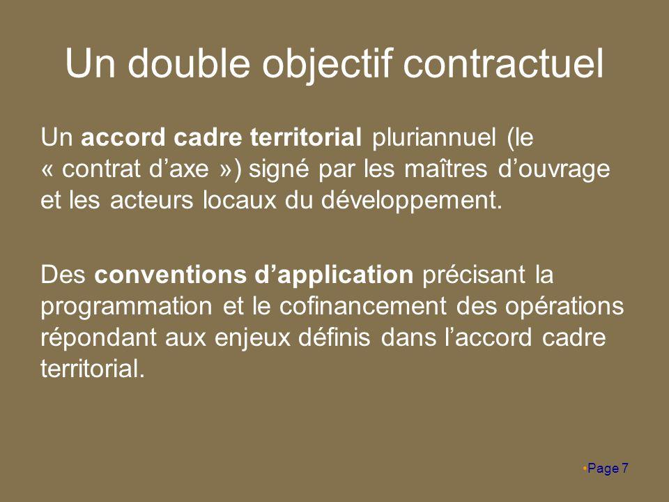 Un double objectif contractuel Un accord cadre territorial pluriannuel (le « contrat d'axe ») signé par les maîtres d'ouvrage et les acteurs locaux du développement.