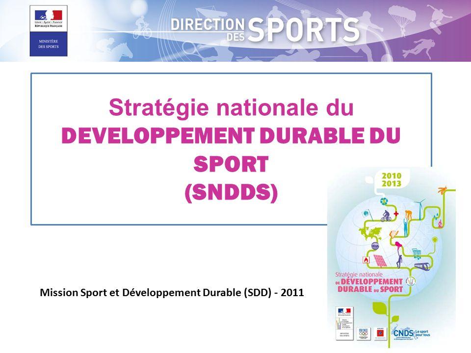 Stratégie nationale du DEVELOPPEMENT DURABLE DU SPORT (SNDDS) Mission Sport et Développement Durable (SDD) - 2011