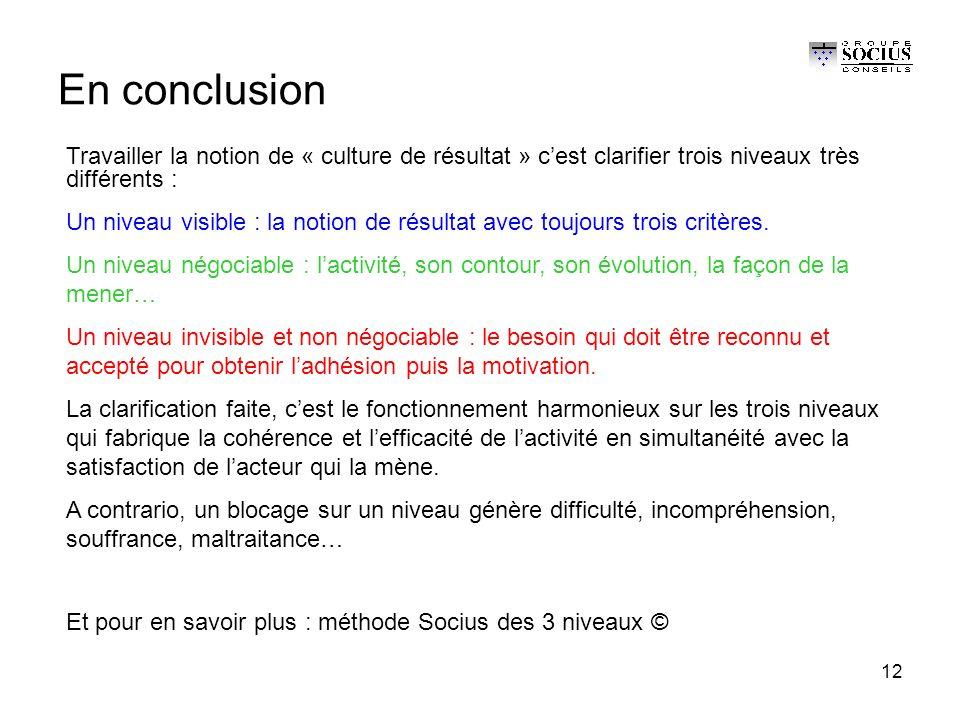 12 En conclusion Travailler la notion de « culture de résultat » c'est clarifier trois niveaux très différents : Un niveau visible : la notion de résultat avec toujours trois critères.