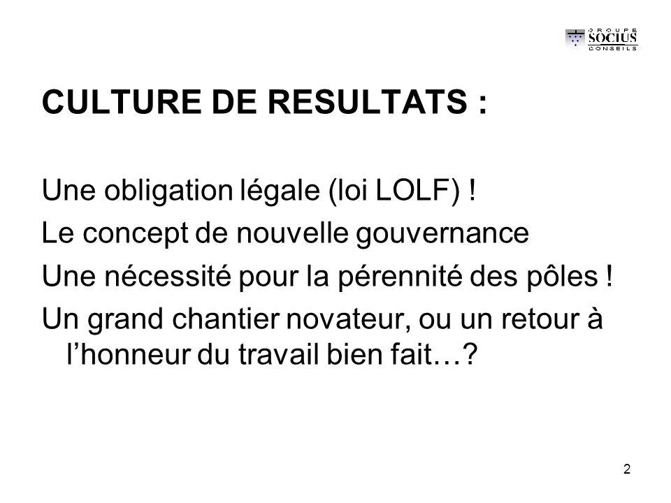 2 CULTURE DE RESULTATS : Une obligation légale (loi LOLF) .