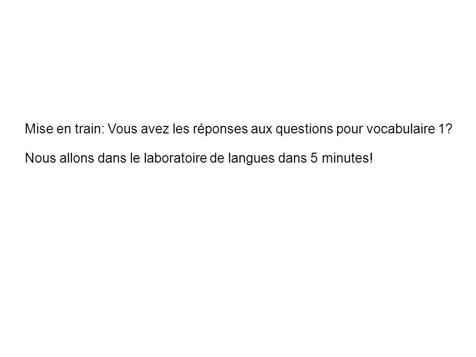 Mise en train: Vous avez les réponses aux questions pour vocabulaire 1.