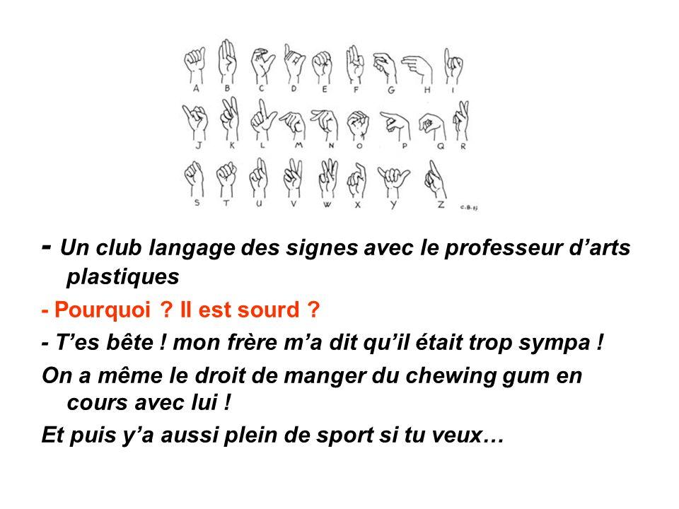 - Un club langage des signes avec le professeur d'arts plastiques - Pourquoi .