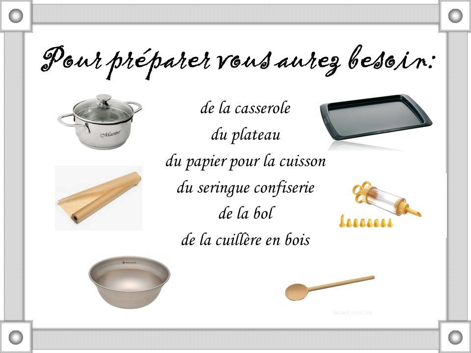 de la casserole du plateau du papier pour la cuisson du seringue confiserie de la bol de la cuillère en bois Pour préparer vous aurez besoin: