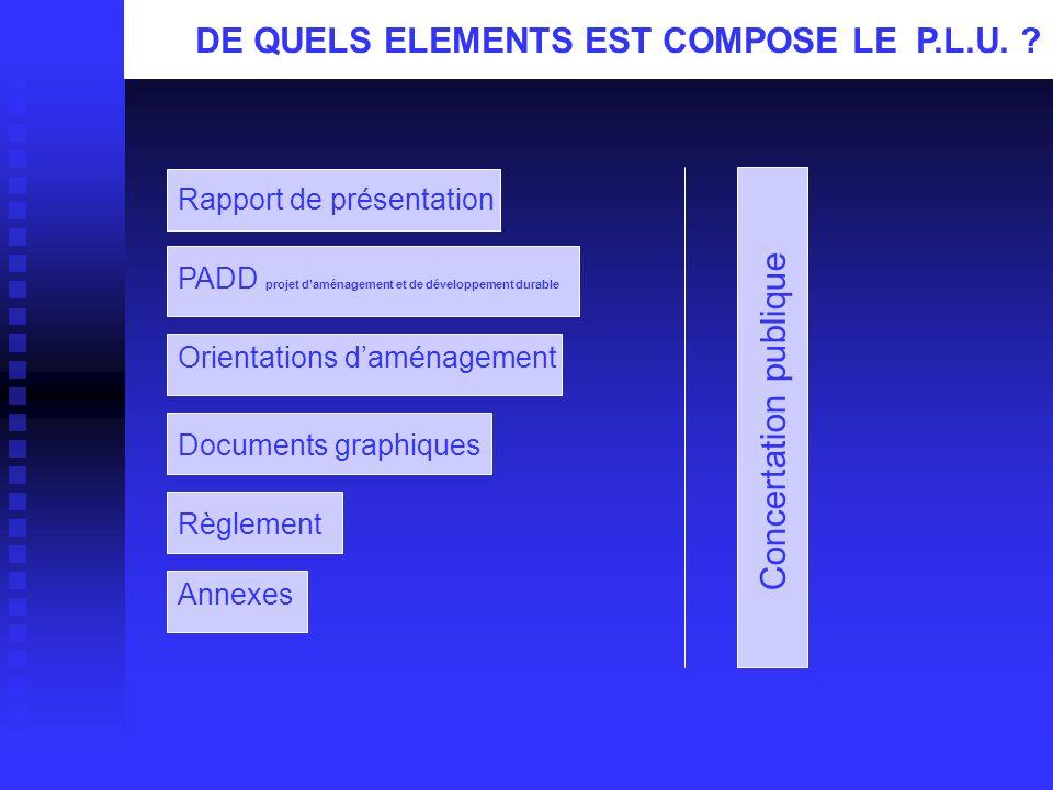 Annexes PADD projet d'aménagement et de développement durable Documents graphiques Règlement Concertation publique DE QUELS ELEMENTS EST COMPOSE LE P.L.U.
