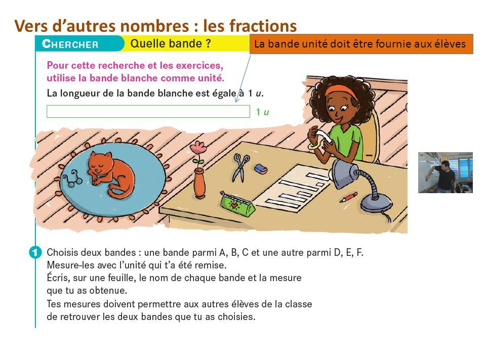 Vers d'autres nombres : les fractions La bande unité doit être fournie aux élèves