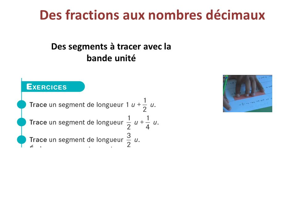 Des fractions aux nombres décimaux Des segments à tracer avec la bande unité