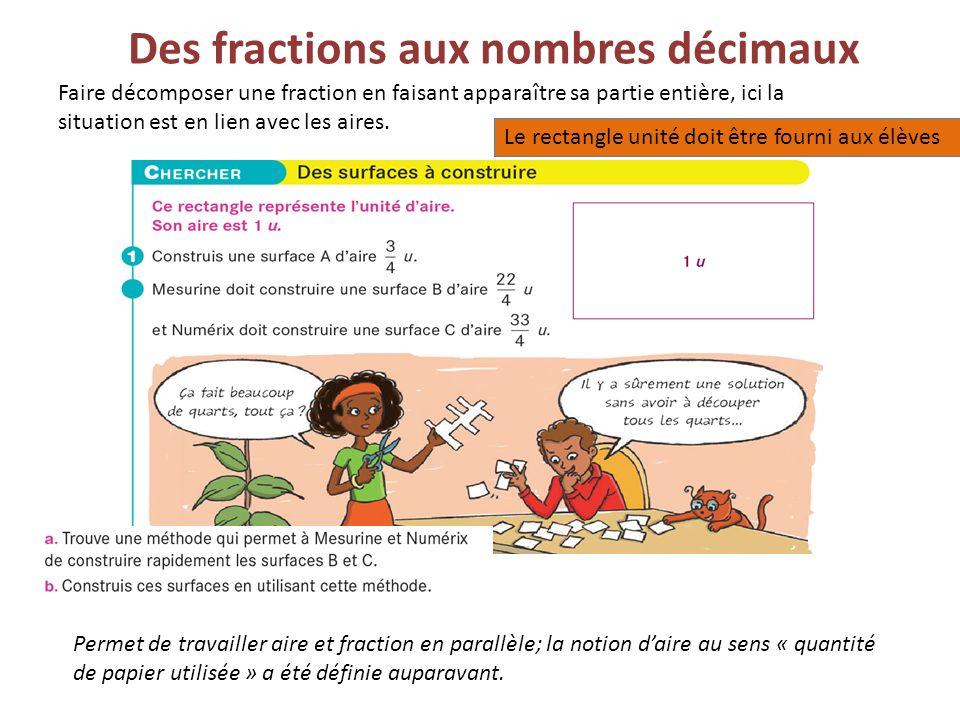Des fractions aux nombres décimaux Faire décomposer une fraction en faisant apparaître sa partie entière, ici la situation est en lien avec les aires.