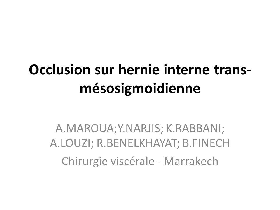Occlusion sur hernie interne trans- mésosigmoidienne A.MAROUA;Y.NARJIS; K.RABBANI; A.LOUZI; R.BENELKHAYAT; B.FINECH Chirurgie viscérale - Marrakech