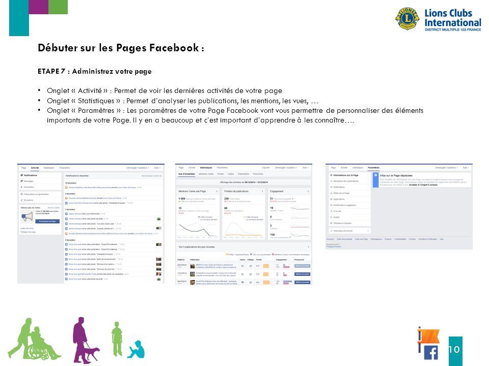 16 10 Débuter sur les Pages Facebook : ETAPE 7 : Administrez votre page Onglet « Activité » : Permet de voir les dernières activités de votre page Onglet « Statistiques » : Permet d'analyser les publications, les mentions, les vues, … Onglet « Paramètres » : Les paramètres de votre Page Facebook vont vous permettre de personnaliser des éléments importants de votre Page.