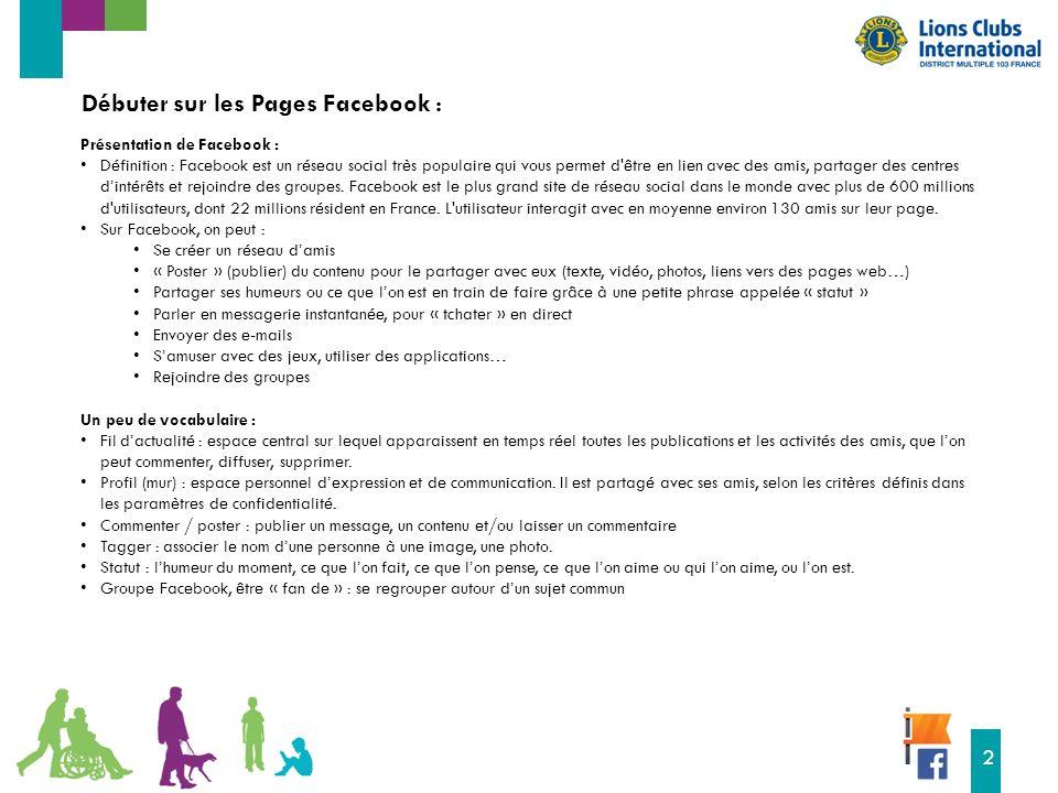 16 2 Débuter sur les Pages Facebook : Présentation de Facebook : Définition : Facebook est un réseau social très populaire qui vous permet d être en lien avec des amis, partager des centres d'intérêts et rejoindre des groupes.