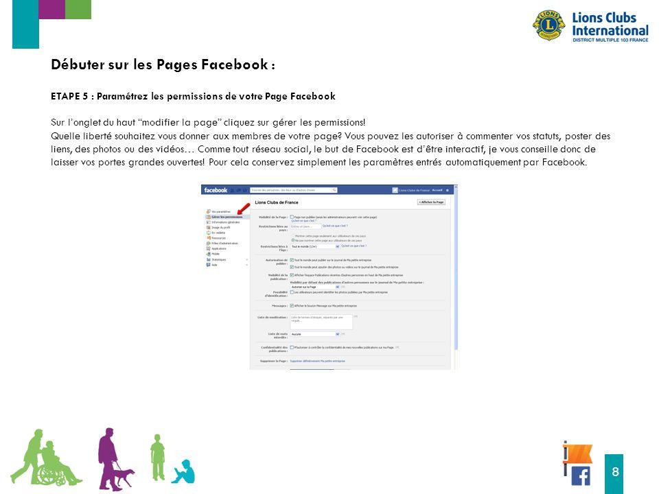 16 8 Débuter sur les Pages Facebook : ETAPE 5 : Paramétrez les permissions de votre Page Facebook Sur l'onglet du haut modifier la page cliquez sur gérer les permissions.