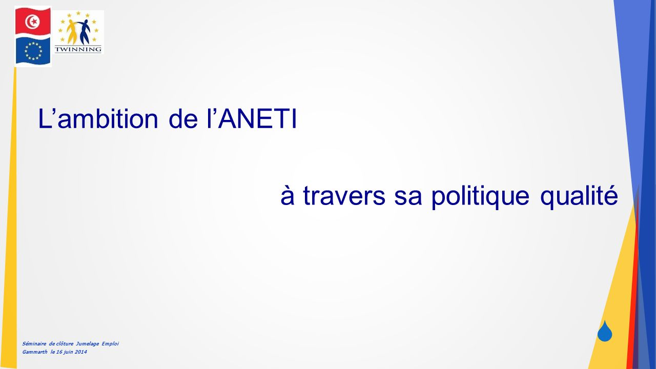 Séminaire de clôture Jumelage Emploi Gammarth le 16 juin 2014  L'ambition de l'ANETI à travers sa politique qualité