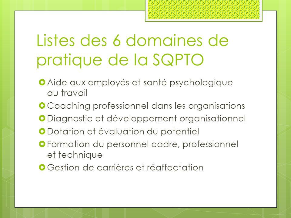 Listes des 6 domaines de pratique de la SQPTO  Aide aux employés et santé psychologique au travail  Coaching professionnel dans les organisations  Diagnostic et développement organisationnel  Dotation et évaluation du potentiel  Formation du personnel cadre, professionnel et technique  Gestion de carrières et réaffectation