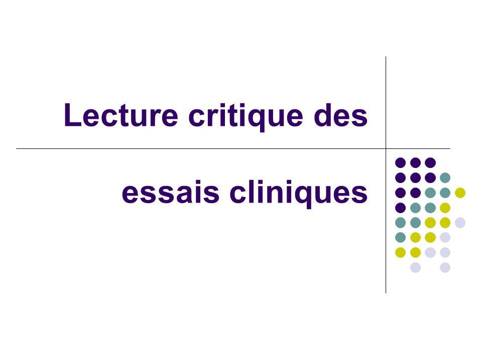 Lecture critique des essais cliniques