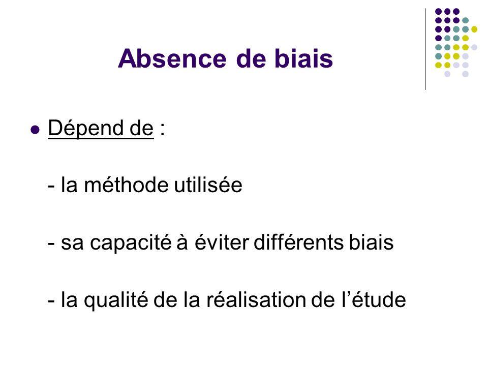 Absence de biais Dépend de : - la méthode utilisée - sa capacité à éviter différents biais - la qualité de la réalisation de l'étude
