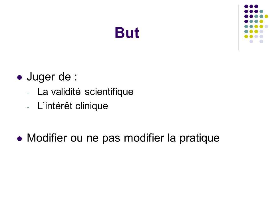 But Juger de : - La validité scientifique - L'intérêt clinique Modifier ou ne pas modifier la pratique