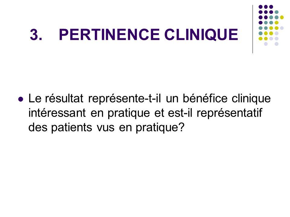 3.PERTINENCE CLINIQUE Le résultat représente-t-il un bénéfice clinique intéressant en pratique et est-il représentatif des patients vus en pratique