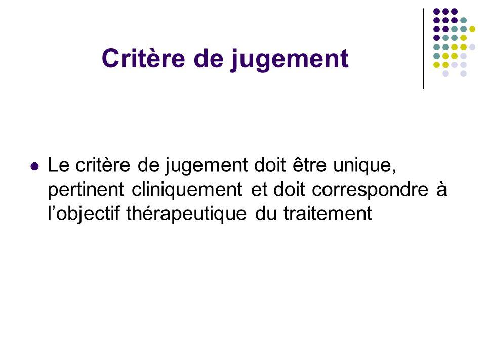 Critère de jugement Le critère de jugement doit être unique, pertinent cliniquement et doit correspondre à l'objectif thérapeutique du traitement