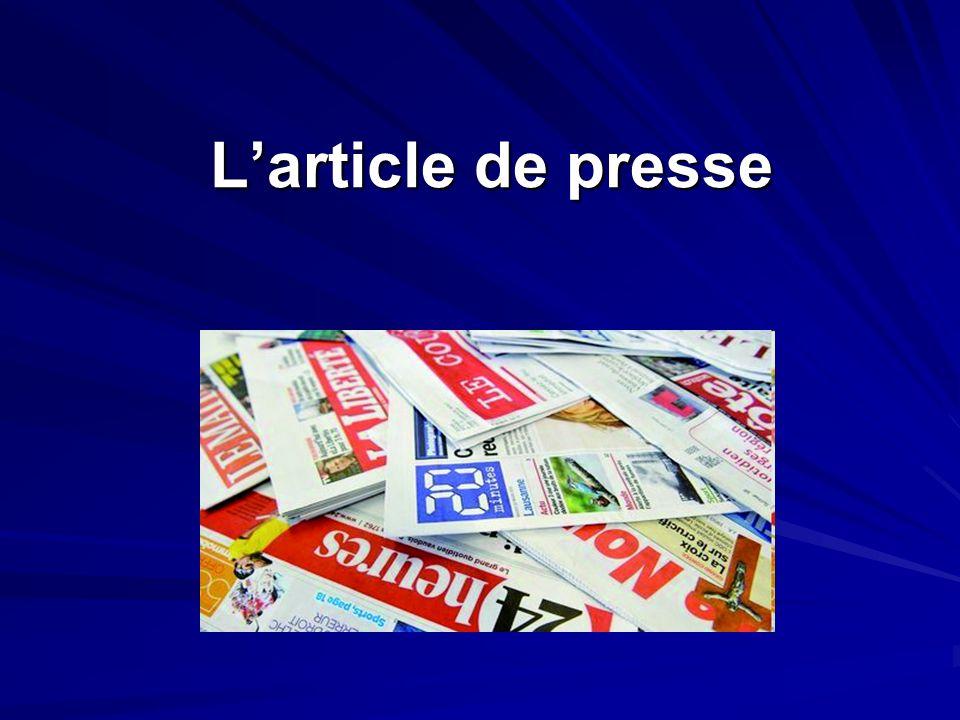 L'article de presse