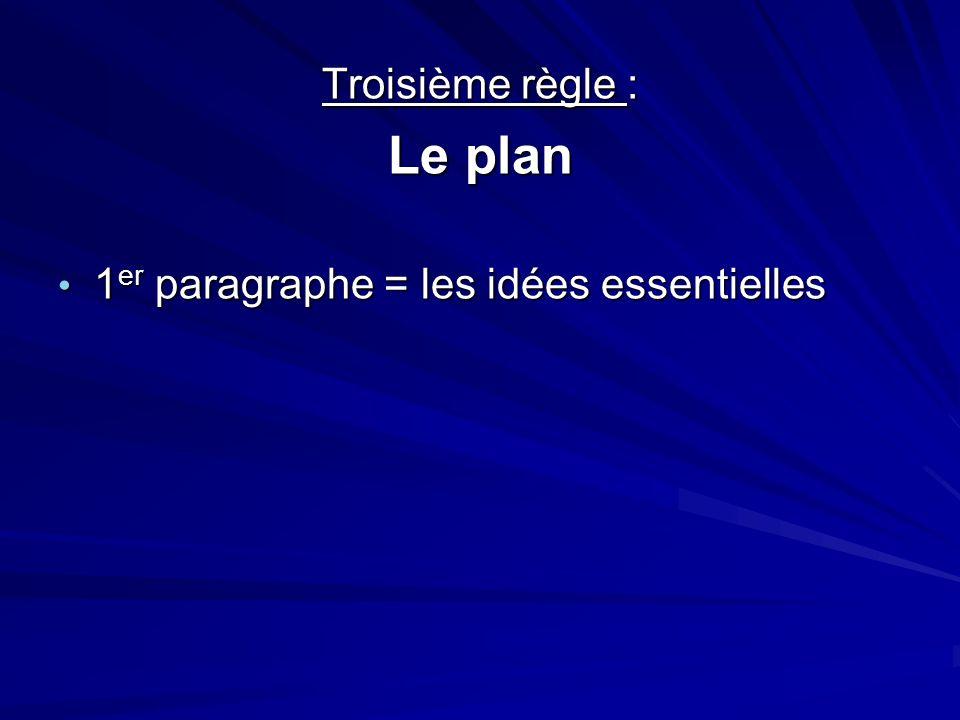 Troisième règle : Le plan 1 er paragraphe = les idées essentielles 1 er paragraphe = les idées essentielles