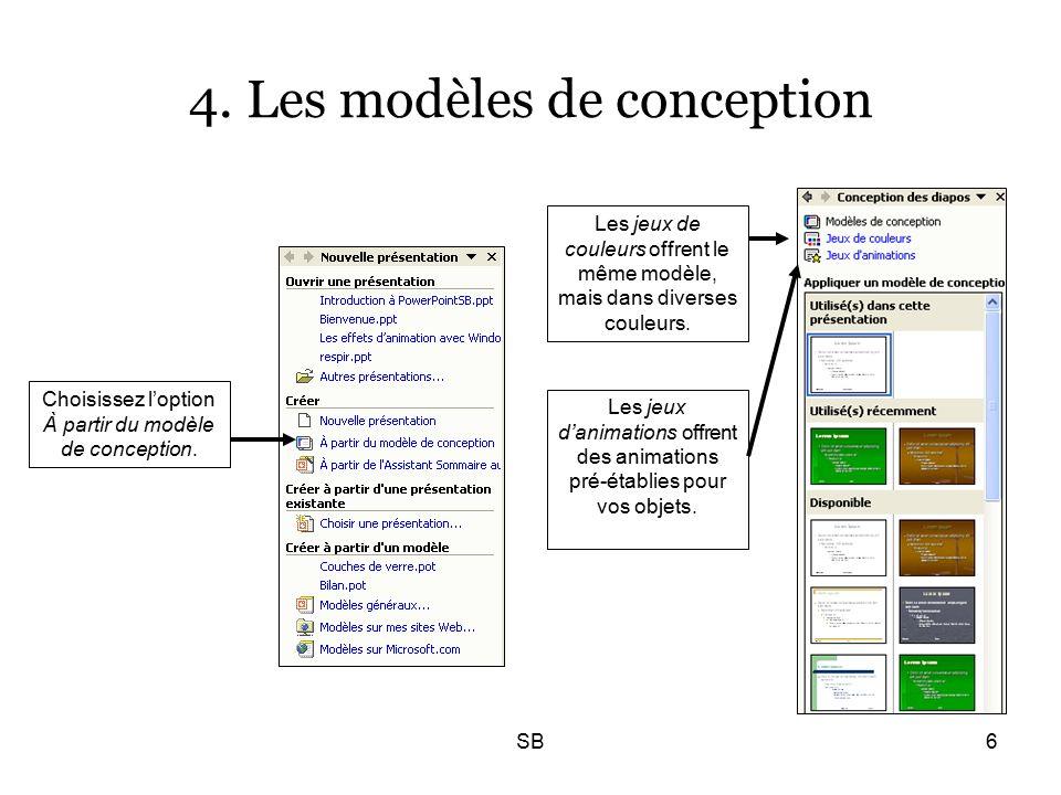 SB6 4. Les modèles de conception Choisissez l'option À partir du modèle de conception.