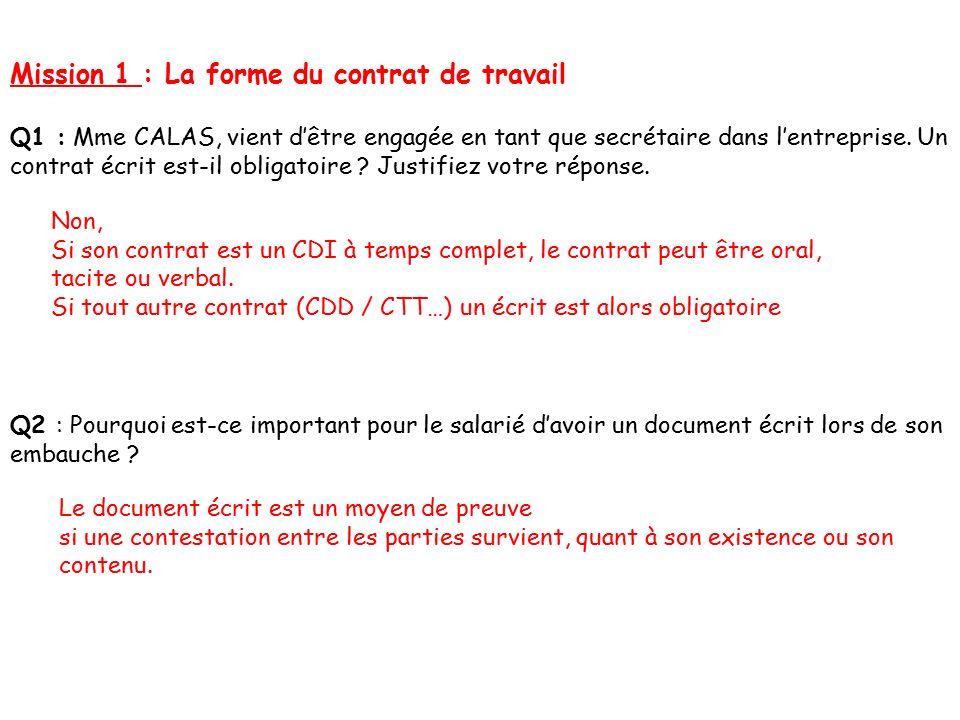 TP 1 : LE CONTRAT DE TRAVAIL FORME / CONTENU / OBLIGATIONS