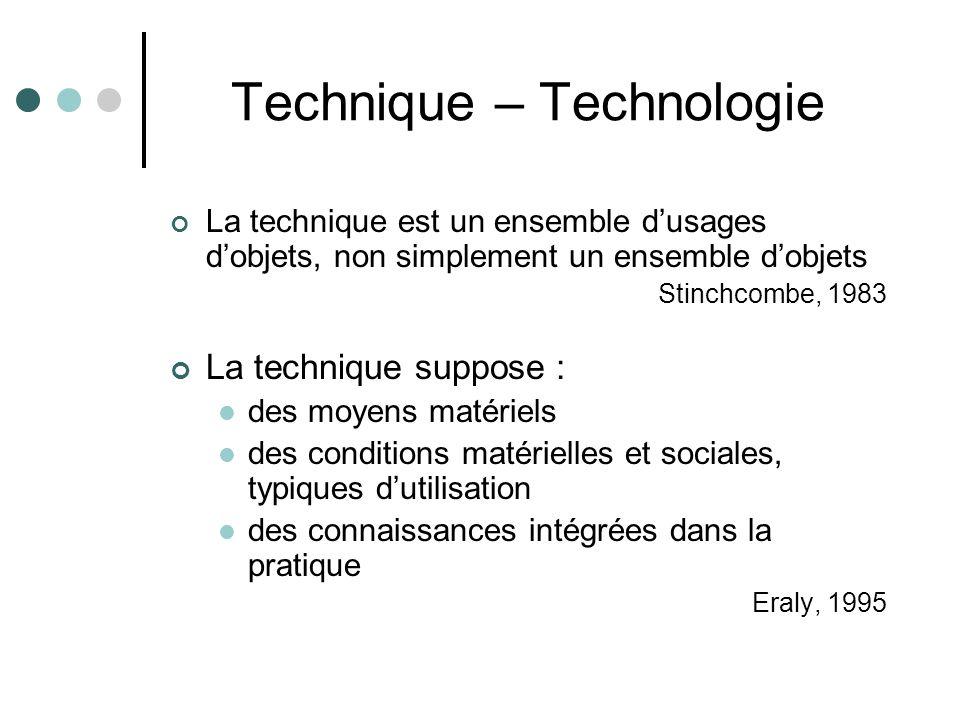 Technique – Technologie La technique est un ensemble d'usages d'objets, non simplement un ensemble d'objets Stinchcombe, 1983 La technique suppose : des moyens matériels des conditions matérielles et sociales, typiques d'utilisation des connaissances intégrées dans la pratique Eraly, 1995