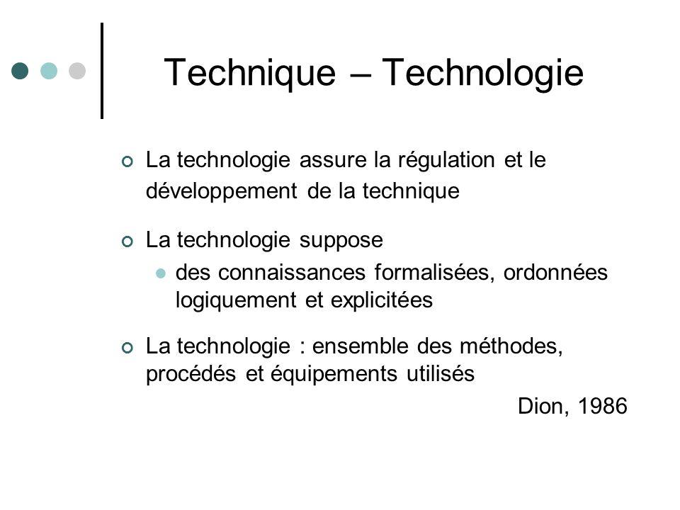 Technique – Technologie La technologie assure la régulation et le développement de la technique La technologie suppose des connaissances formalisées, ordonnées logiquement et explicitées La technologie : ensemble des méthodes, procédés et équipements utilisés Dion, 1986