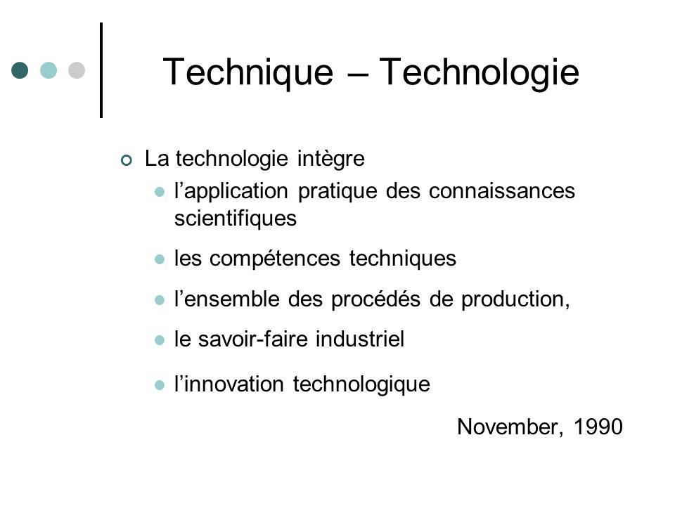 Technique – Technologie La technologie intègre l'application pratique des connaissances scientifiques les compétences techniques l'ensemble des procédés de production, le savoir-faire industriel l'innovation technologique November, 1990