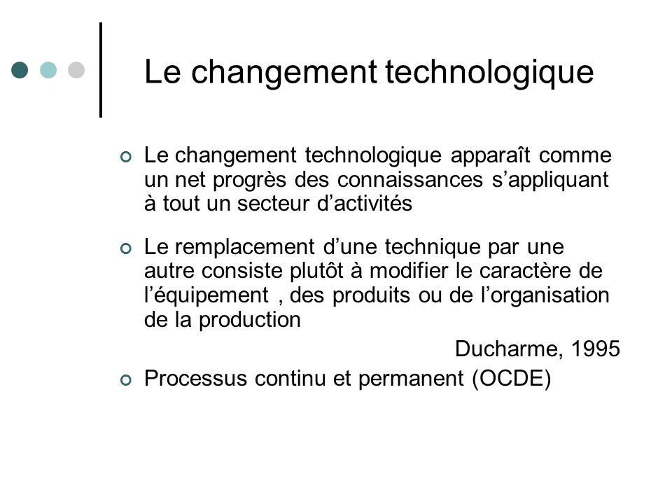 Le changement technologique Le changement technologique apparaît comme un net progrès des connaissances s'appliquant à tout un secteur d'activités Le remplacement d'une technique par une autre consiste plutôt à modifier le caractère de l'équipement, des produits ou de l'organisation de la production Ducharme, 1995 Processus continu et permanent (OCDE)