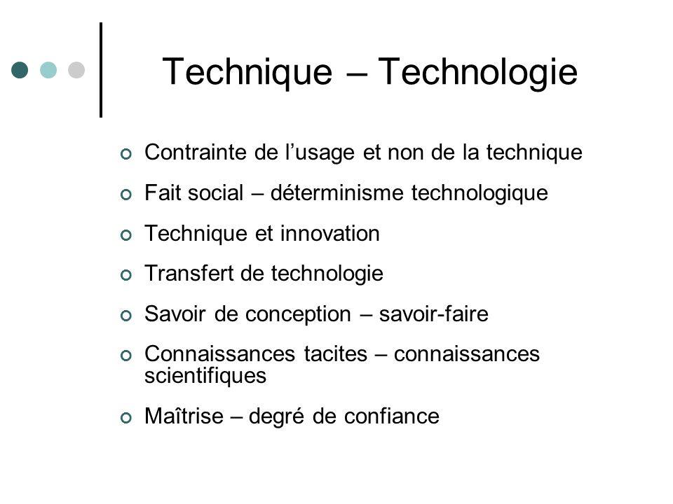 Technique – Technologie Contrainte de l'usage et non de la technique Fait social – déterminisme technologique Technique et innovation Transfert de technologie Savoir de conception – savoir-faire Connaissances tacites – connaissances scientifiques Maîtrise – degré de confiance