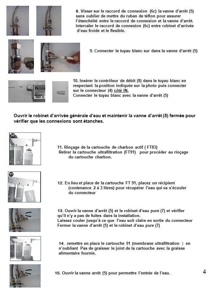 Conditions d'utilisation : Température d'eau mini - maxi : 4-38ºC Pression de travail 0.5-4 kg/cm2 La durée de vie des filtres dépend de la quantité et qualité de l'eau traitée.