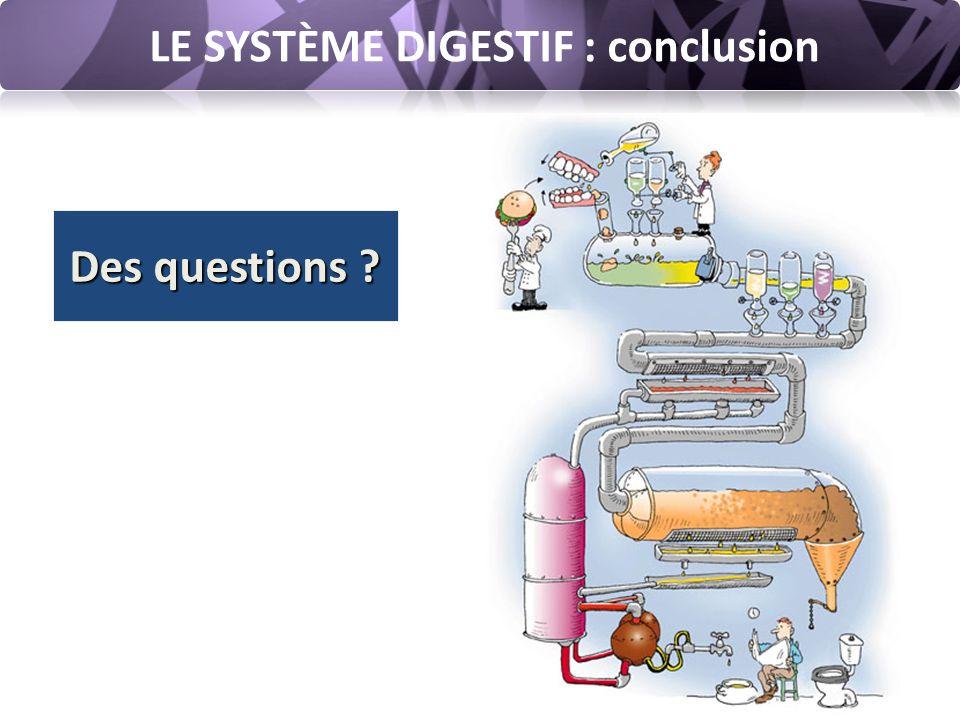 LE SYSTÈME DIGESTIF : conclusion Des questions ?