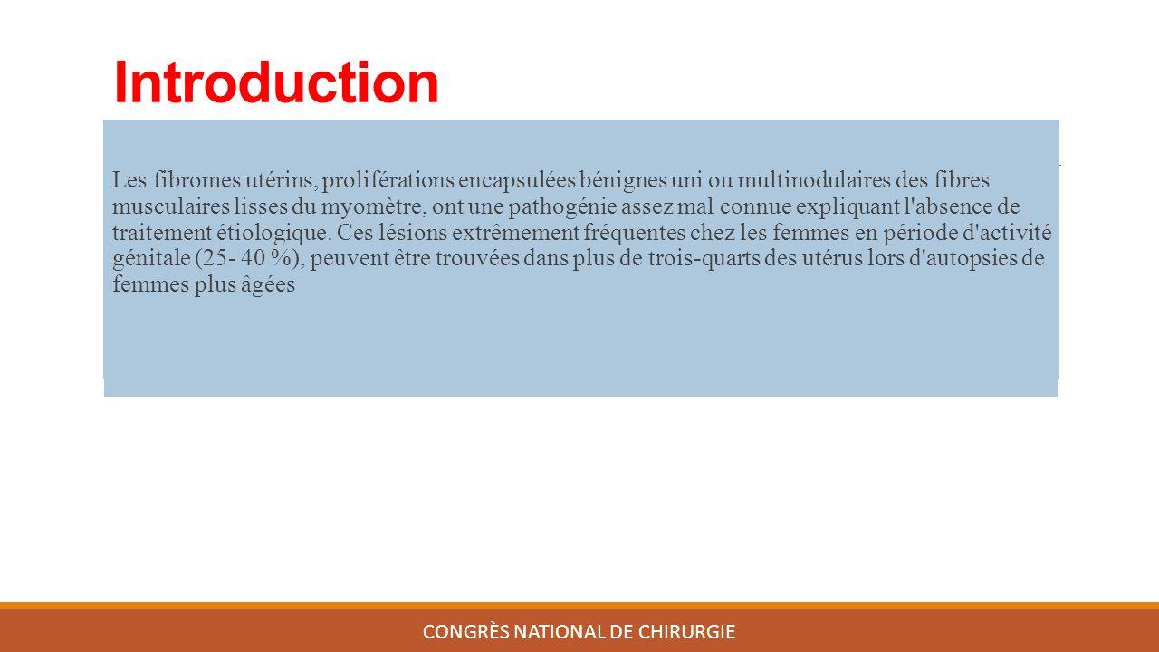 Introduction Les fibromes utérins, proliférations encapsulées bénignes uni ou multinodulaires des fibres musculaires lisses du myomètre, ont une pathogénie assez mal connue expliquant l absence de traitement étiologique.