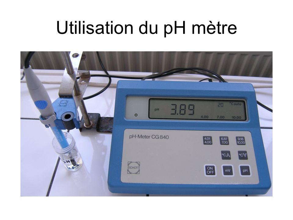 Utilisation du pH mètre