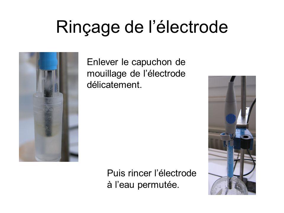 Rinçage de l'électrode Enlever le capuchon de mouillage de l'électrode délicatement.