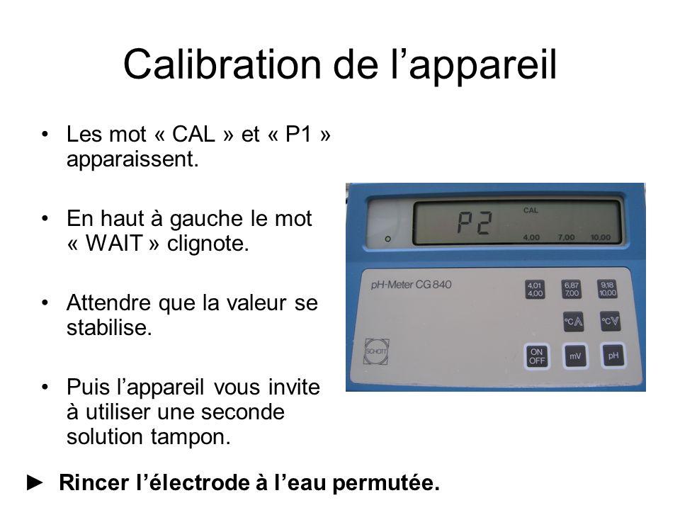 Les mot « CAL » et « P1 » apparaissent. En haut à gauche le mot « WAIT » clignote.