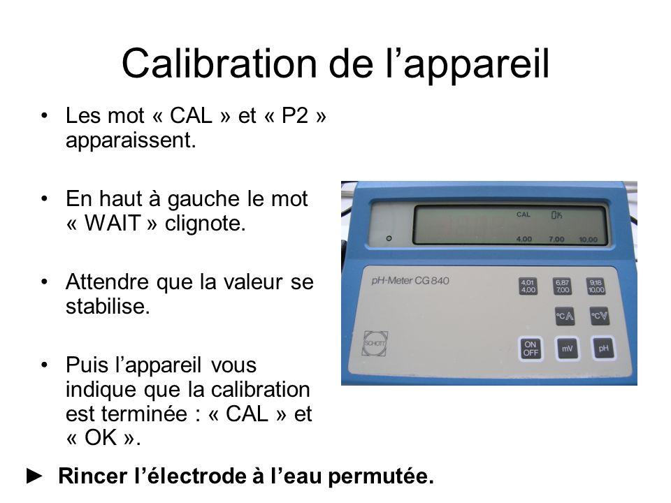 Les mot « CAL » et « P2 » apparaissent. En haut à gauche le mot « WAIT » clignote.