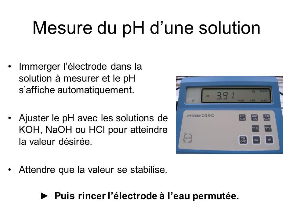Mesure du pH d'une solution Immerger l'électrode dans la solution à mesurer et le pH s'affiche automatiquement.