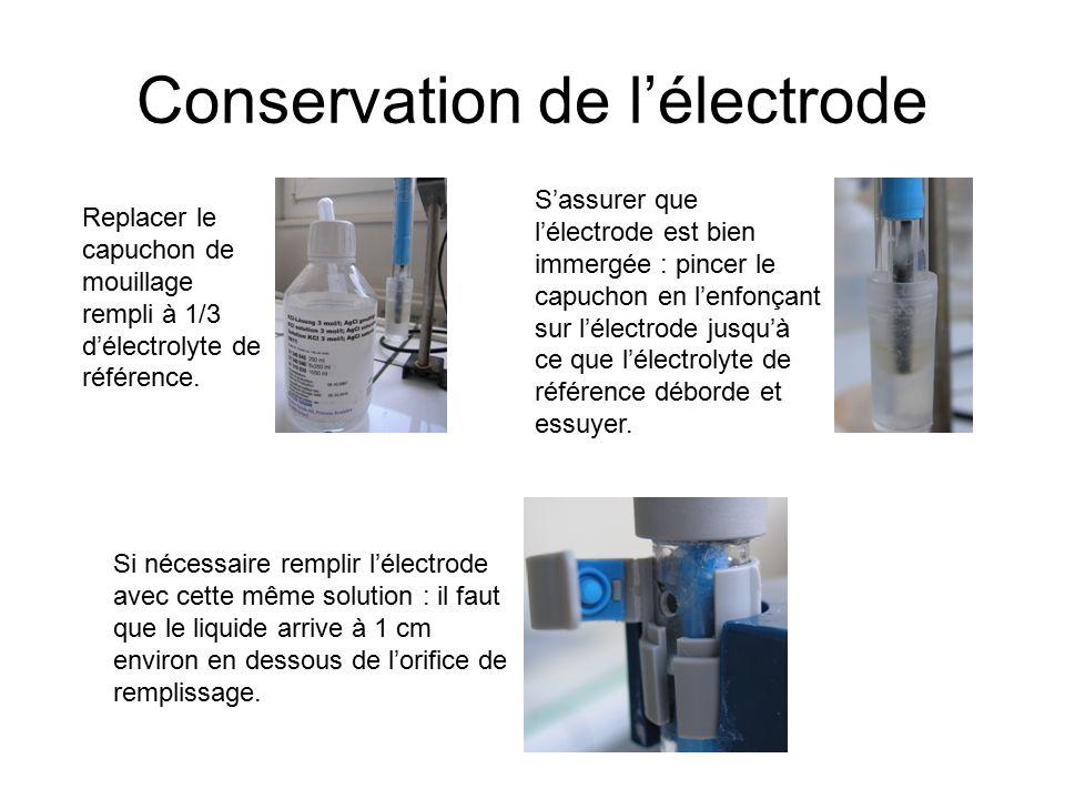 Conservation de l'électrode Si nécessaire remplir l'électrode avec cette même solution : il faut que le liquide arrive à 1 cm environ en dessous de l'orifice de remplissage.