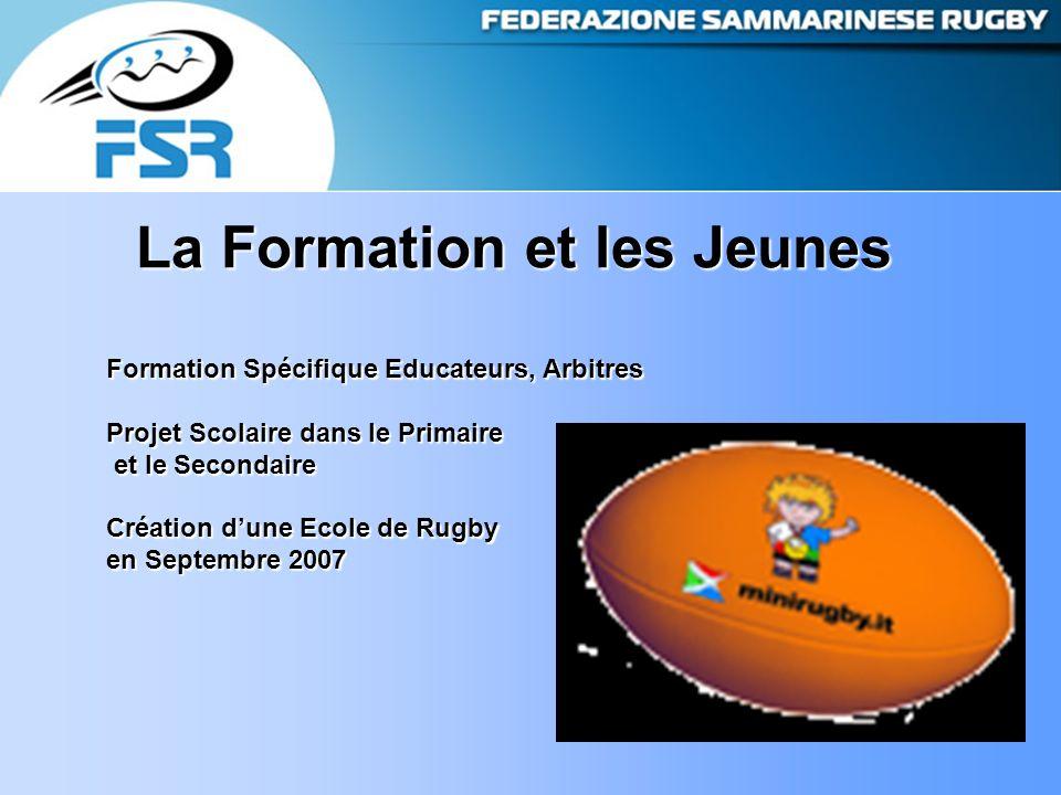 La Formation et les Jeunes Formation Spécifique Educateurs, Arbitres Projet Scolaire dans le Primaire et le Secondaire et le Secondaire Création d'une Ecole de Rugby en Septembre 2007