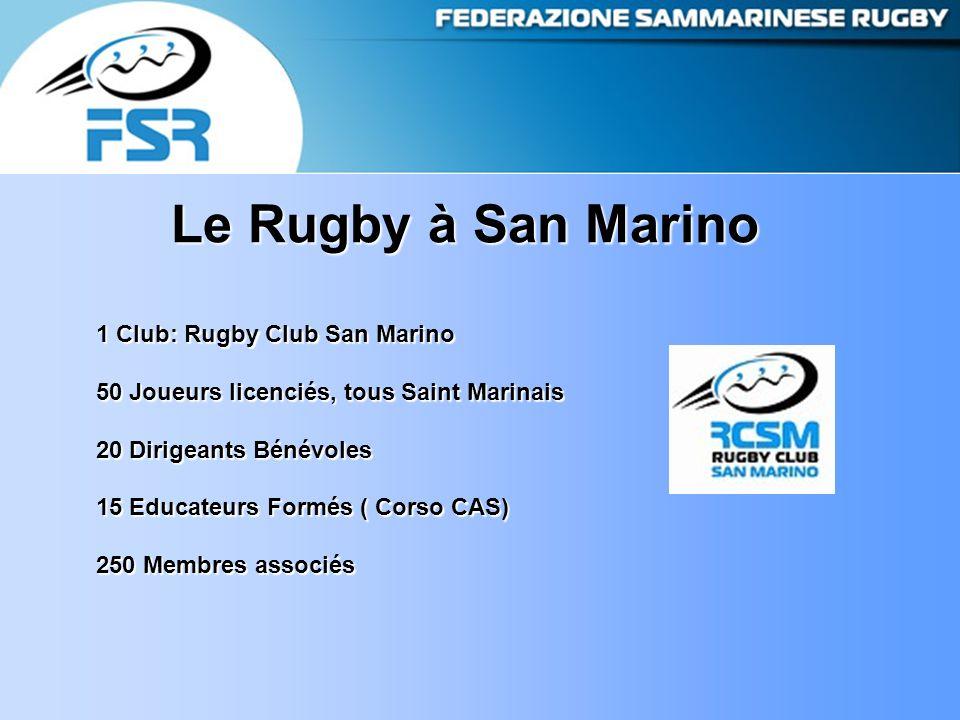 Le Rugby à San Marino 1 Club: Rugby Club San Marino 50 Joueurs licenciés, tous Saint Marinais 20 Dirigeants Bénévoles 15 Educateurs Formés ( Corso CAS) 250 Membres associés