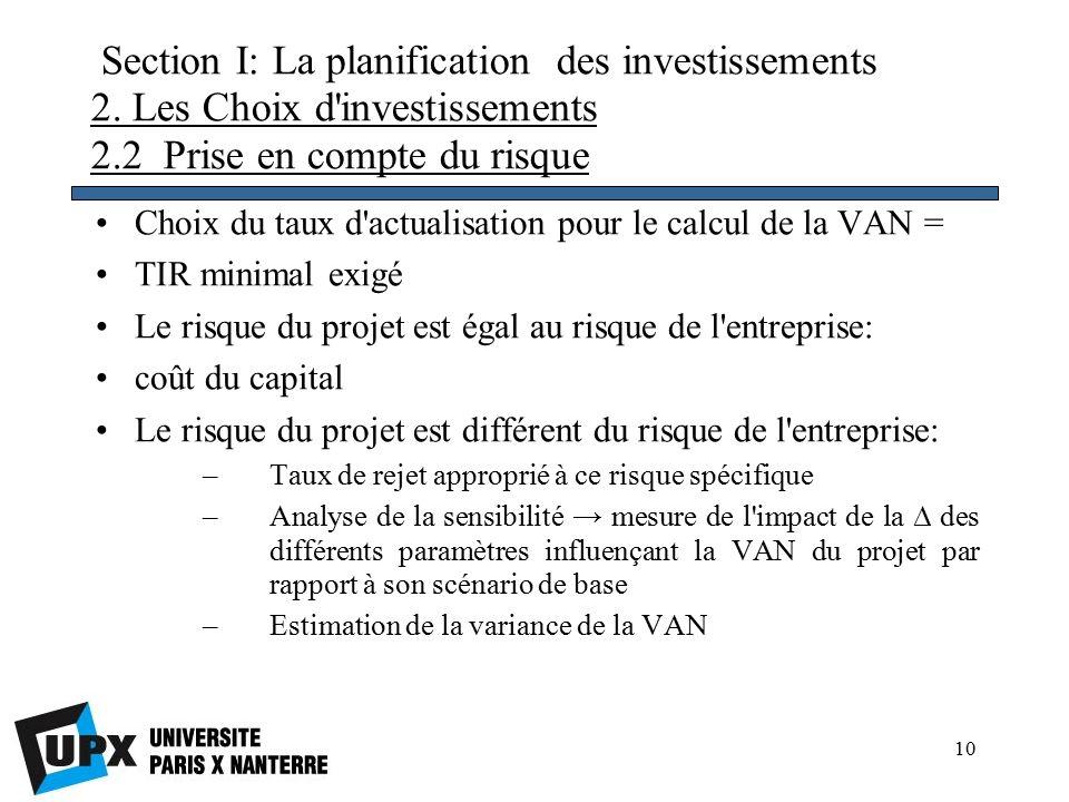 10 Section I: La planification des investissements 2.
